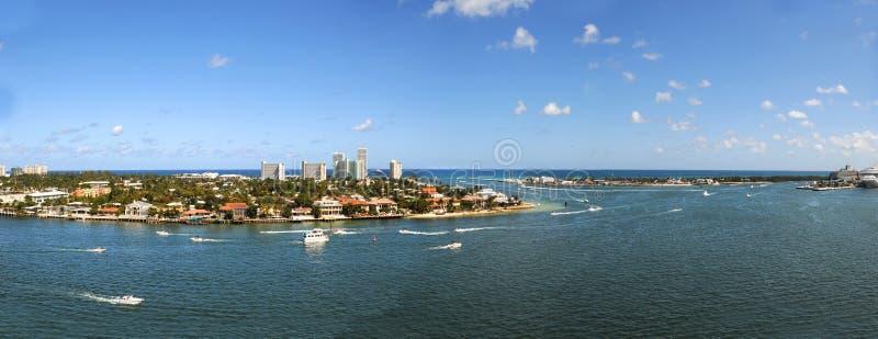 Panorama- flyg- sikt av Fort Lauderdale royaltyfri fotografi