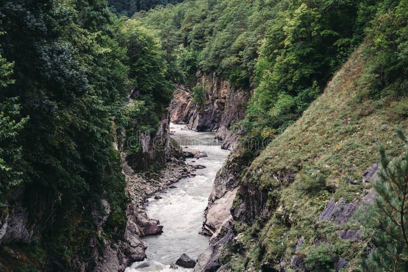 Panorama- flyg- sikt av klyftan av bergfloden, granitkanjon, berg som är bevuxna med skogar, berglandskap arkivfoto