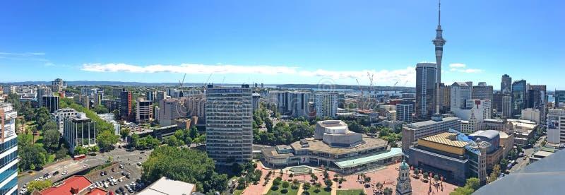 Panorama- flyg- sikt av området för central affär för Auckland stad royaltyfri bild