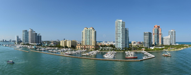 Panorama- flyg- sikt av södra Miami Beach arkivfoton