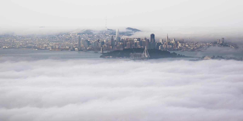 Panorama- flyg- sikt av San Francisco Bay Area från Grizzley maximumtoppmöte i Berkeley royaltyfria foton
