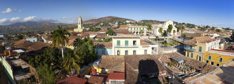 Panorama- flyg- sikt på Trinidad med Lucha Contra Bandidos, Kuba royaltyfri foto