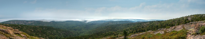 Panorama of Foggy Coastline Off Cadillac Mountain In Acadia National Park royalty free stock photo