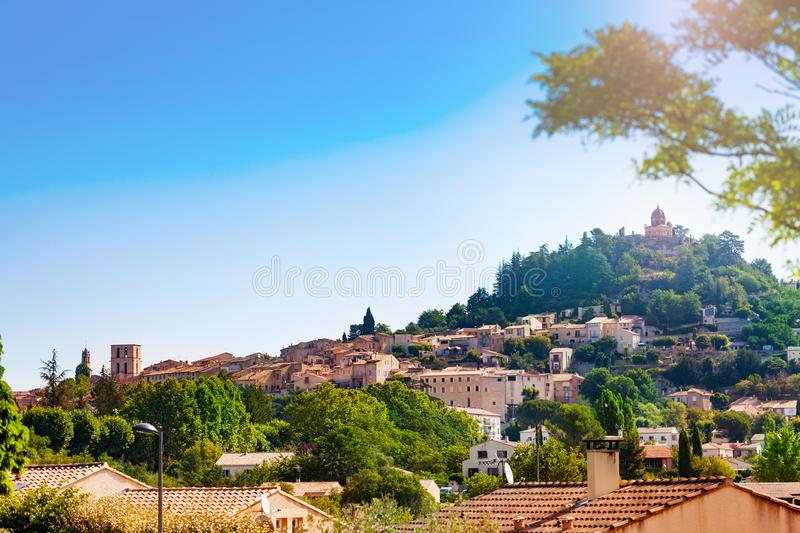 Panorama of Forcalquier town, Provence France Europe. Panorama of Forcalquier town commune in the Alpes-de-Haute-Provence department in southeastern France stock images
