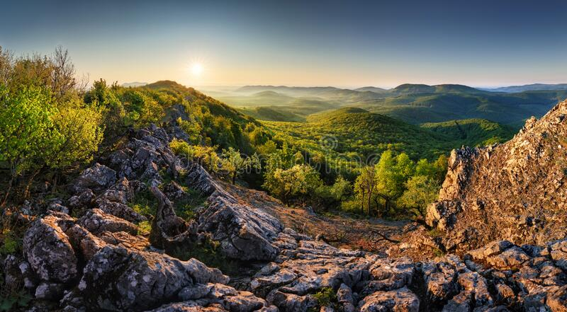 Panorama of forest and mountain in Carpathian with sun, Slovakia royalty free stock photos
