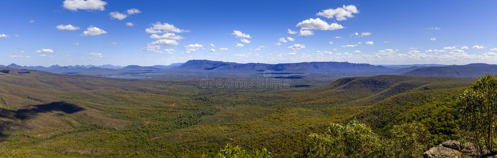 Panorama of forest and mountains of Grampians National Park. Wide panorama of forest and mountains of Grampians National Park on beautiful summer day royalty free stock photography