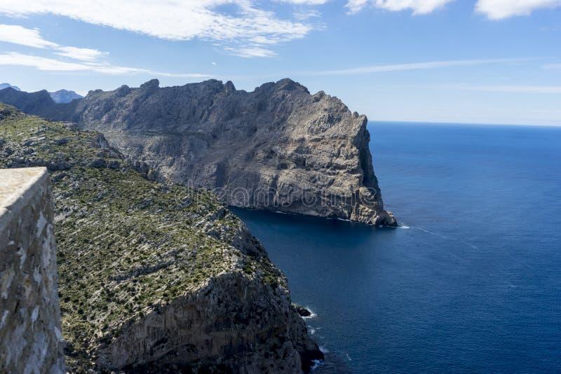 Panorama, Formentor morzem śródziemnomorskim na wyspie Ib obraz stock