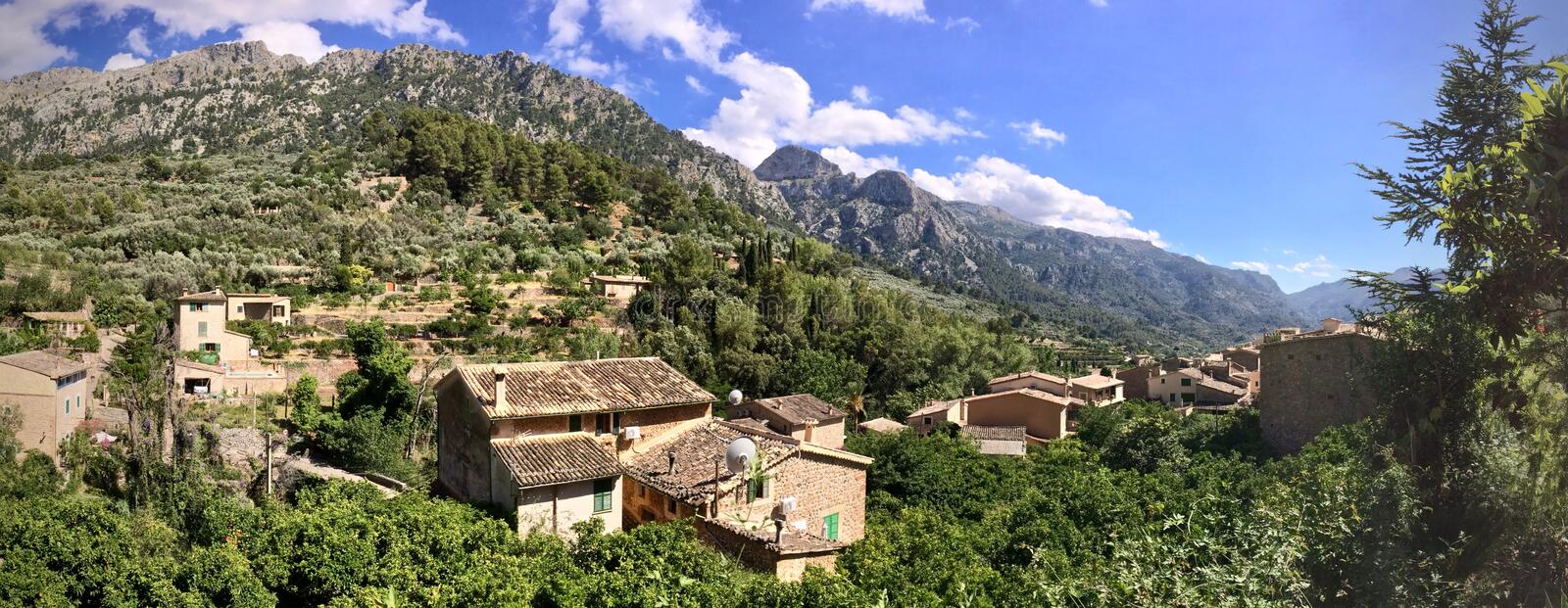 Panorama of Fornalutx rooftops, Mallorca, Spain. Aerial view of Fornalutx outdoors in a mountain valley royalty free stock image