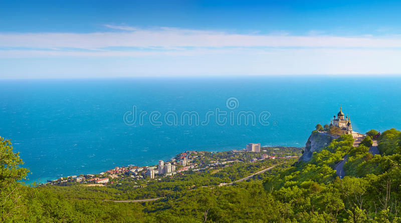 Panorama of Foros. Foros Church. View from the top.Crimea, Ukraine royalty free stock photography