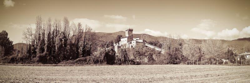 Panorama- foto av den ber?mda medeltida citadellen av Vicopisano Italien - Tuscany - Pisa royaltyfri fotografi