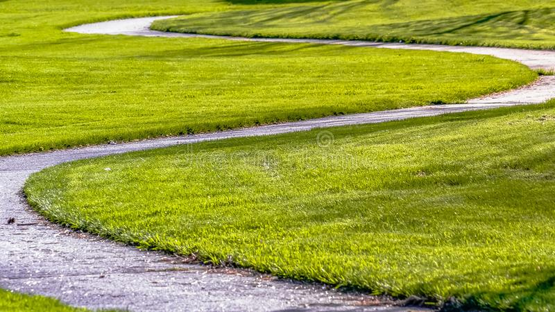 Panorama frame Pathway curving amid a lush field with young colorful trees on a sunny day. The winding walkway leads to the paved road in the distance royalty free stock photos