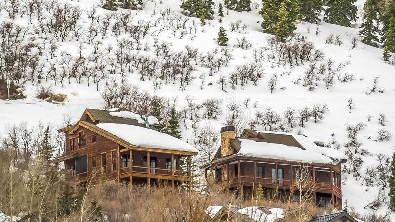 Panorama frame Winter landscape with homes and conifers on a mountain under cloudy gray sky. The mountain slope and the roofs of the houses with balconies are royalty free stock images