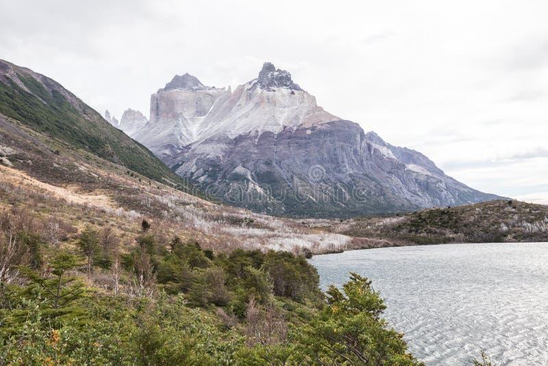 Panorama français de vallée au parc national de Torres del Paine au Chili photographie stock libre de droits