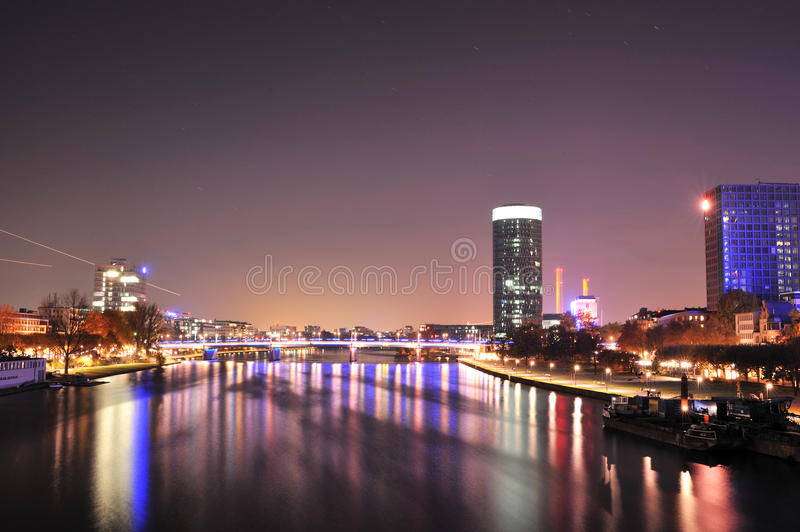 Frankfurt business city by night stock image