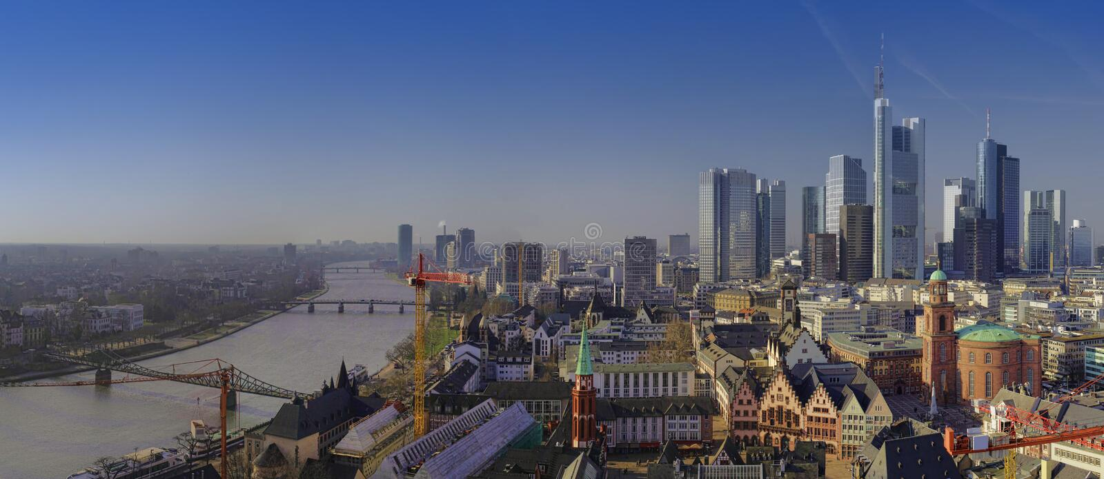 Panorama of Frankfurt am Main city. In Germany, aerial view stock images