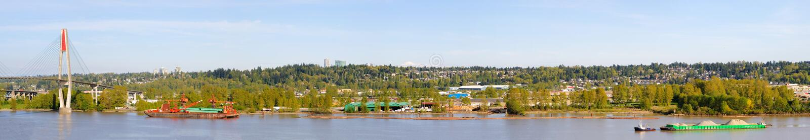 Panorama of fraser river. New westminster,british columbia stock photos
