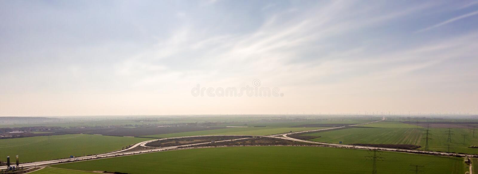 Panorama of a freeway triangle royalty free stock photo
