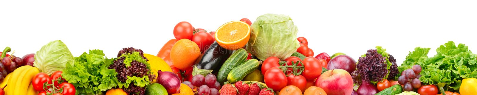 Panorama of fresh fruits and vegetables useful for health isolated on white background. stock illustration