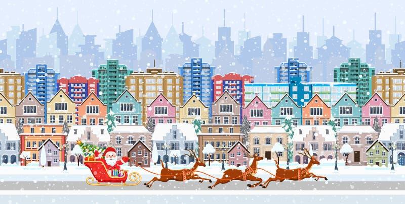 Panorama frontera inconsútil con un paisaje urbano del invierno stock de ilustración