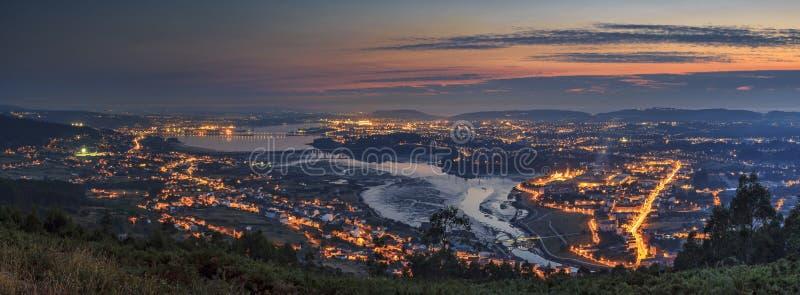 Panorama Galicia España del estuario de Ferrol foto de archivo libre de regalías