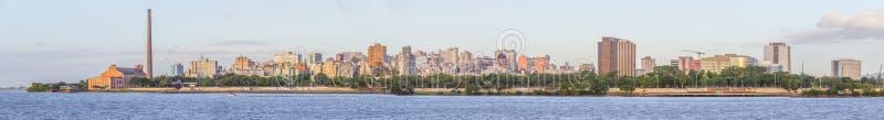 Panorama with Gasometro and Guaiba Lake at sunset, Porto Alegre royalty free stock photography