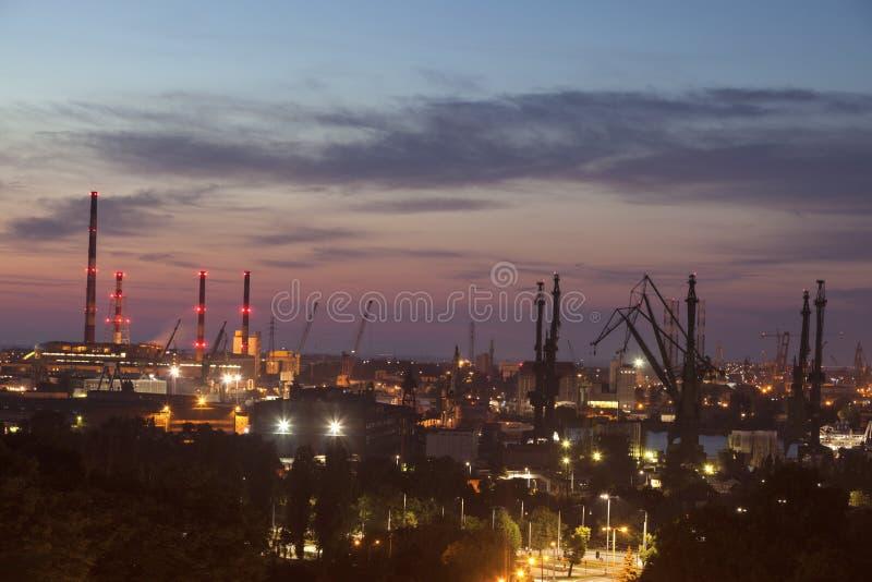 Panorama Gdański przy nocą obrazy stock