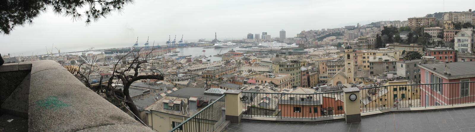 Panorama of Genoa. And his harbor, Italy stock photo
