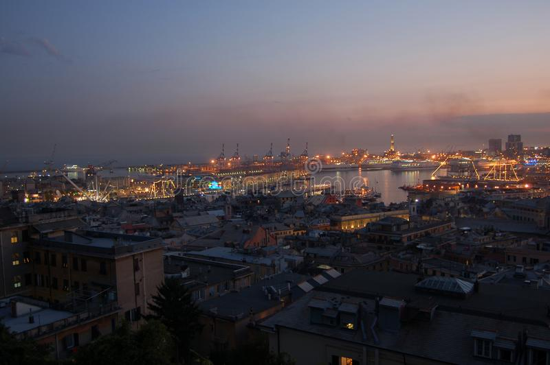Panorama of Genoa. By night, Italy stock image