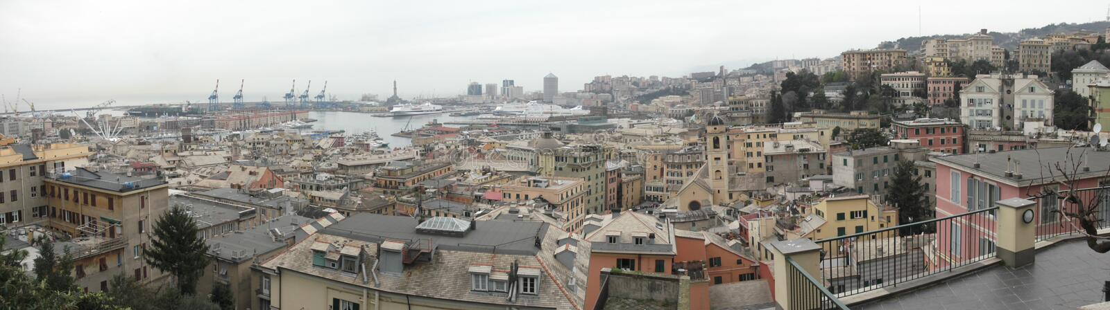 Panorama of Genoa. In Italy royalty free stock image