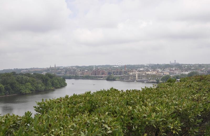 Panorama with Georgetown suburb near Potomac Waterfront from Washington District of Columbia USA stock photography