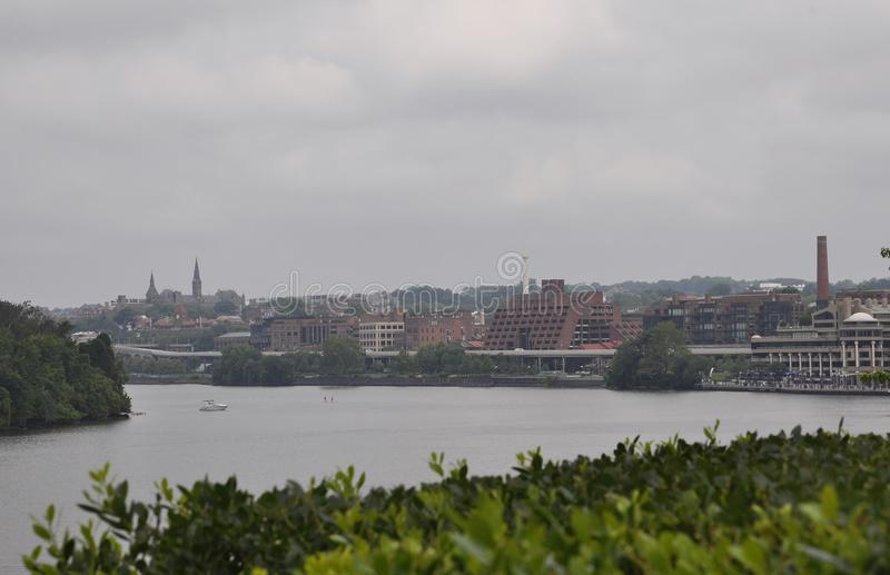 Panorama with Georgetown suburb near Potomac Waterfront from Washington District of Columbia USA royalty free stock photo