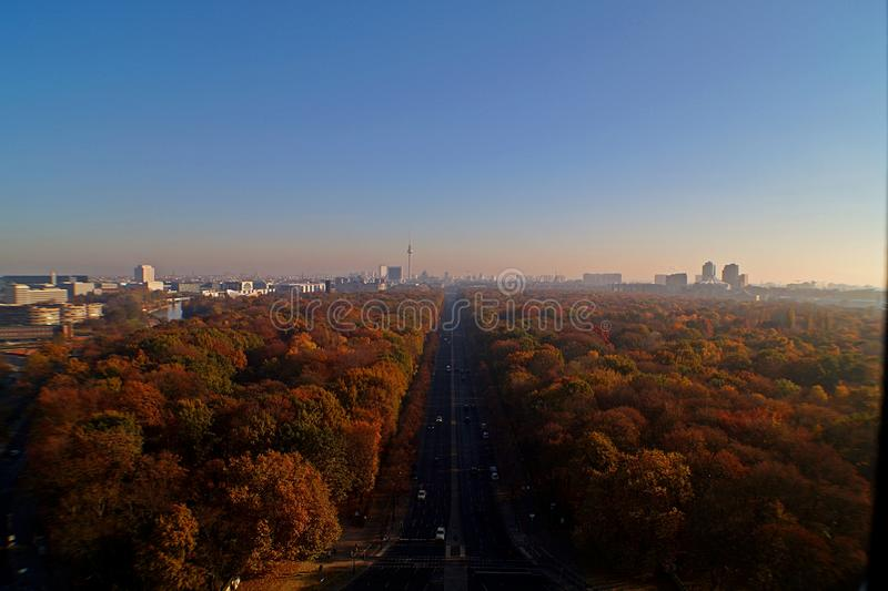 Berlin Panorama with Tiergarten park. Panorama of the German capital Berlin with the Tiergarten park and skyline stock photography