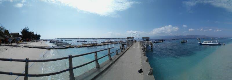 Panorama- Gilis Trawangans strand royaltyfri foto