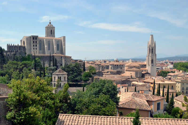 Panorama of Girona in Catalonia, Spain stock images
