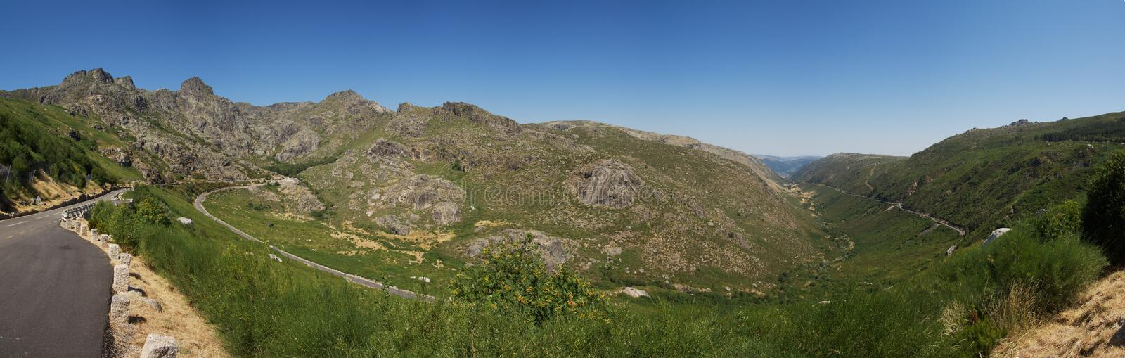 Panorama of glacial valley and Serra da Estrela mountains, Portugal royalty free stock images