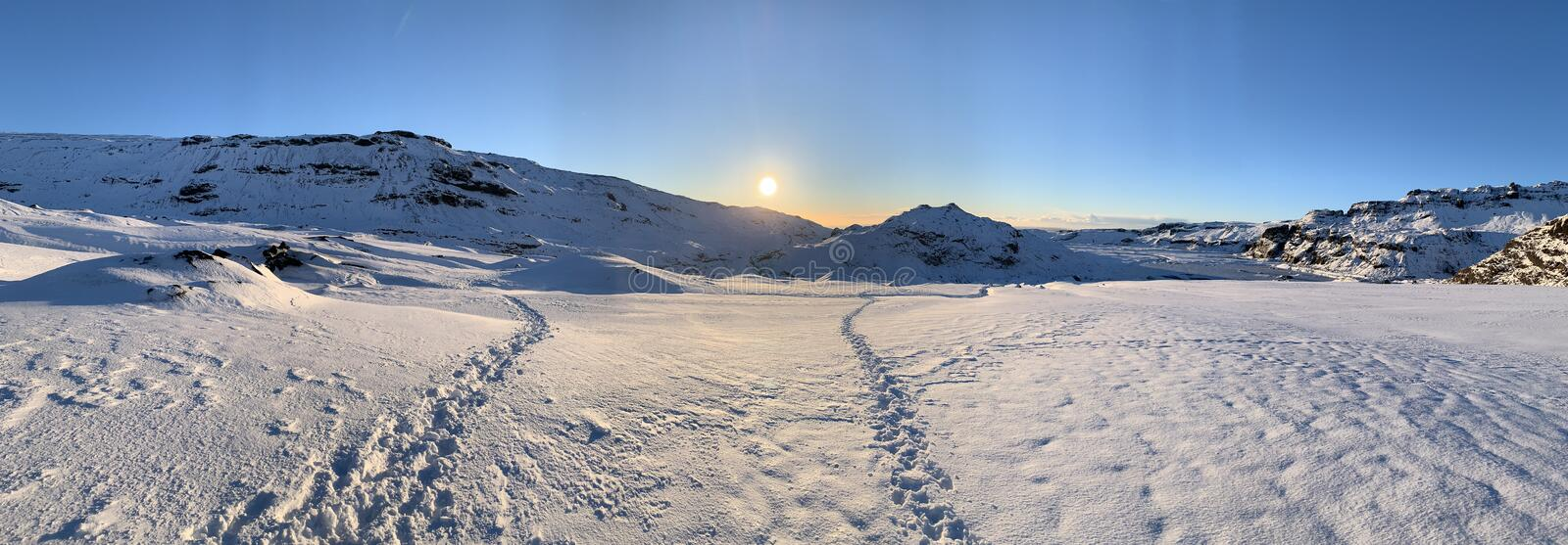Panorama of glacier in Iceland royalty free stock photography