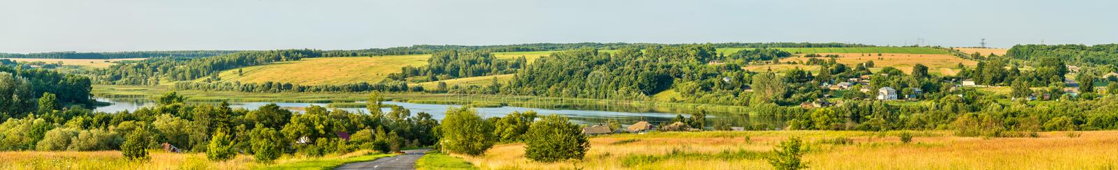 Panorama of Glazovo, a typical village on the Central Russian Upland, Kursk region of Russia. Panorama of Glazovo, a typical village on the Central Russian stock photo