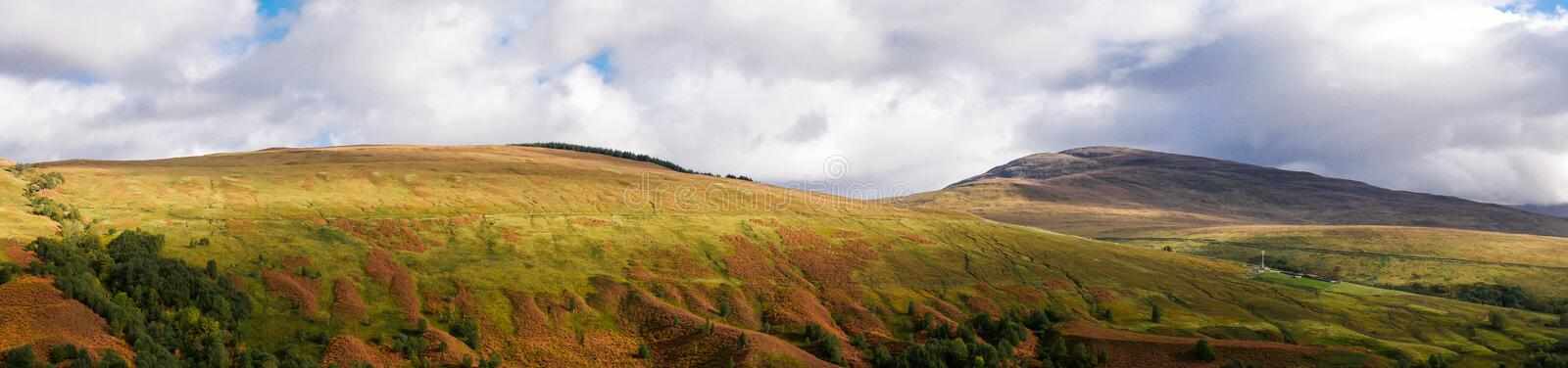 Panorama of Glen Roy in the Highlands of Scotland stock photography
