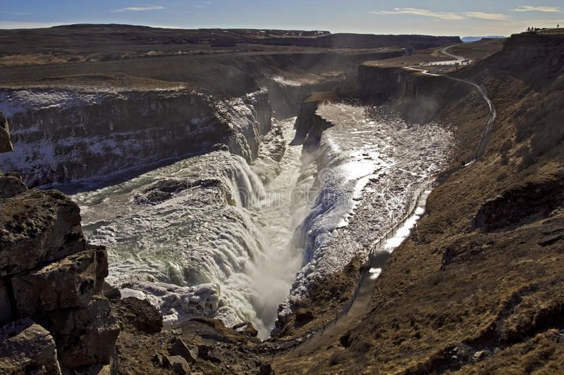 Panorama Of The Golden Falls Falling Into The Chasm