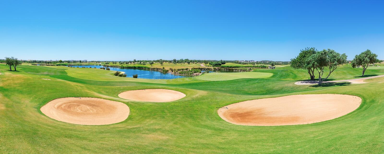Panorama of the golf course. Summer of tourists. royalty free stock images