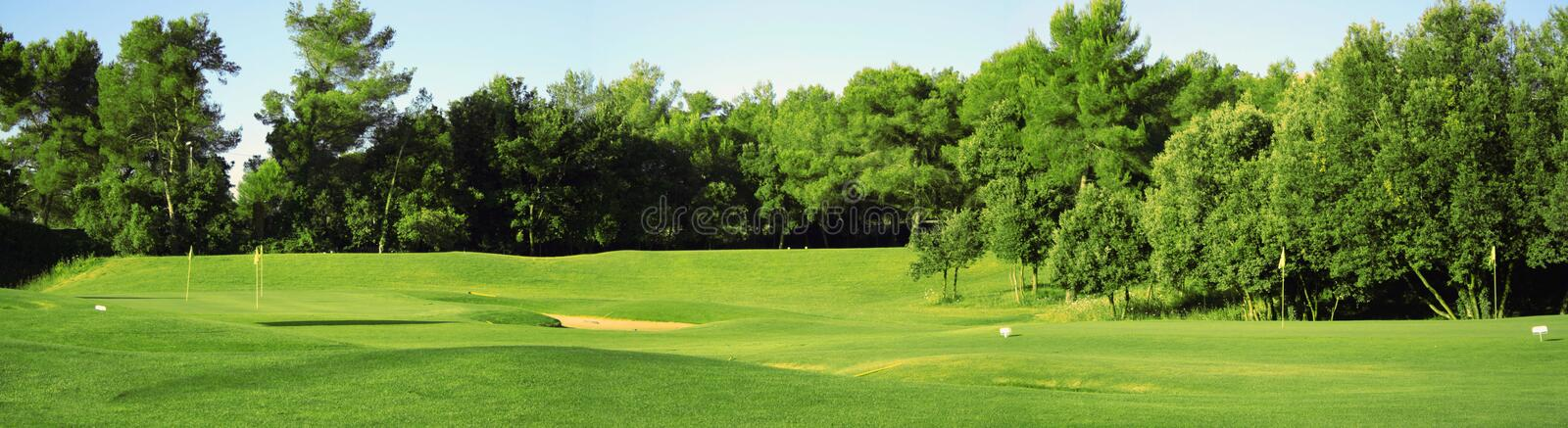 Panorama of golf field stock photography