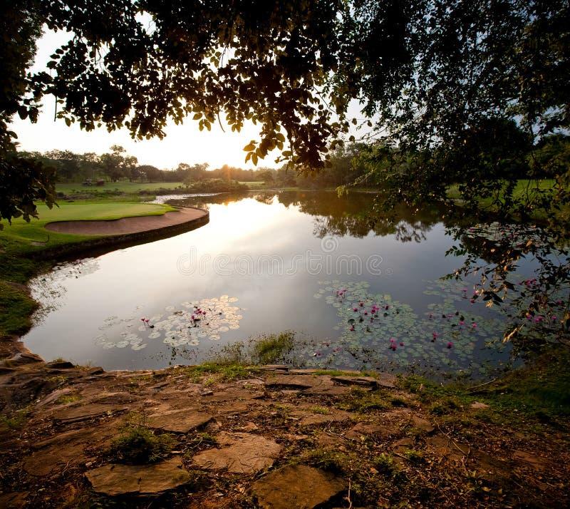 Panorama Golf and lake stock image
