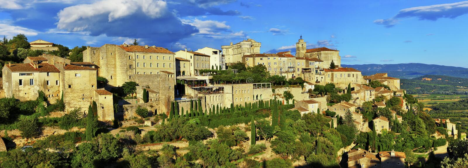 Panorama of Gordes medieval village in Provance. France. Panorama of Gordes medieval village on sunset , Provance royalty free stock photos