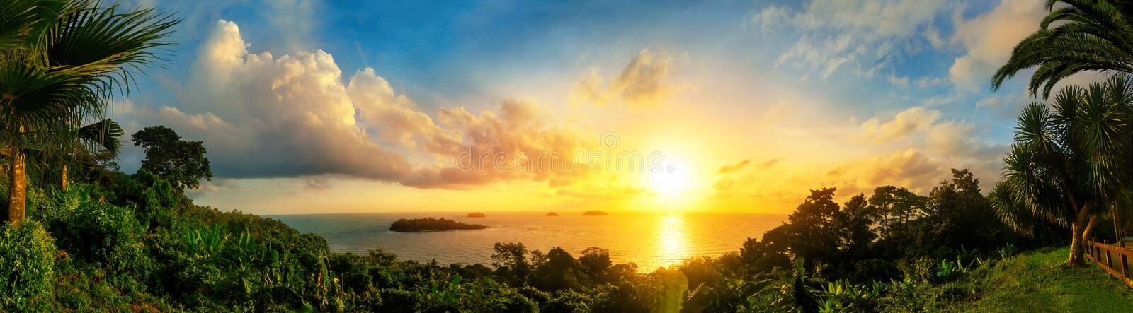 Panorama of a gorgeous sunset at the sea stock photo