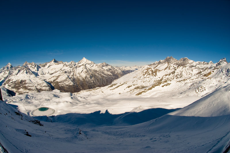 Panorama from Gornergrat. Panoramic view in winter from gornergrat, zermatt, switzerland royalty free stock photography
