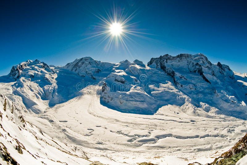 Panorama from Gornergrat. Panoramic view of Monte Rosa, Lyskamm, Breithorn in winter. View from Gornergrat, Zermatt, Switzerland stock photos