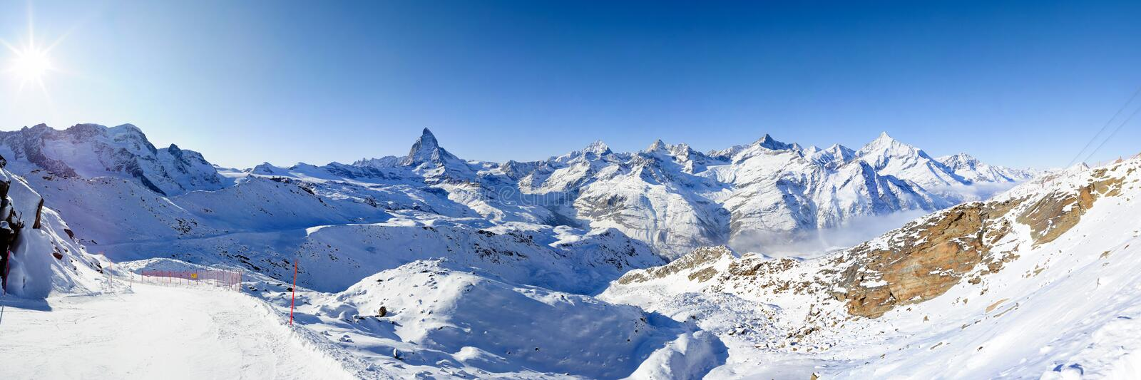 Panorama from gornergrat in winter. Parnorama at Gornergrat, Zermatt, Switzerland in Winter stock photos