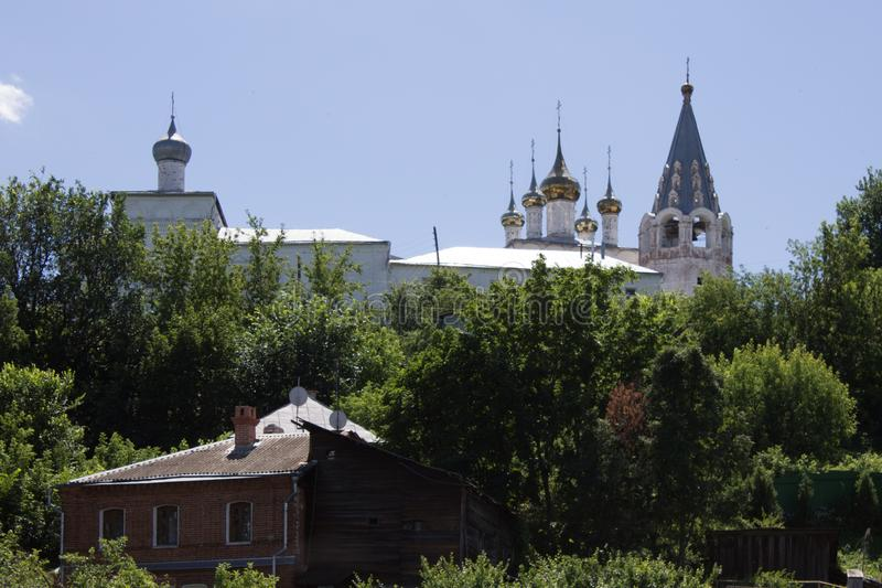 Panorama of Gorokhovets in Russia on a clear summer day. Beautiful panorama of Gorokhovets in Russia on a clear summer day with the horizon and blue sky stock photography