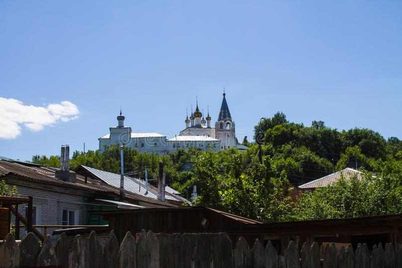 Panorama of Gorokhovets in Russia on a clear summer day. Beautiful panorama of Gorokhovets in Russia on a clear summer day with the horizon and blue sky royalty free stock photo