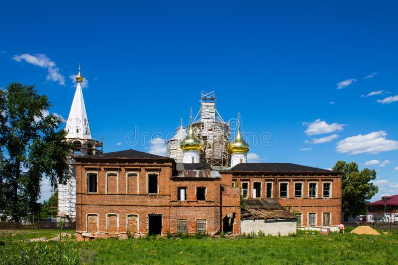 Panorama of Gorokhovets in Russia on a clear summer day. Beautiful panorama of Gorokhovets Russia on a clear summer day with sights royalty free stock image
